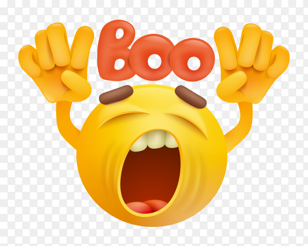 Round smiley face emoji making boo gesture  on transparent PNG