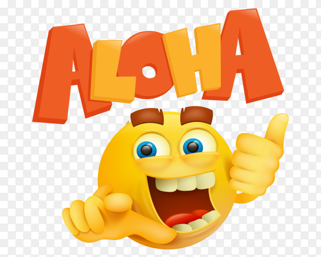 Round yellow smiley face with aloha title on  transparent PNG