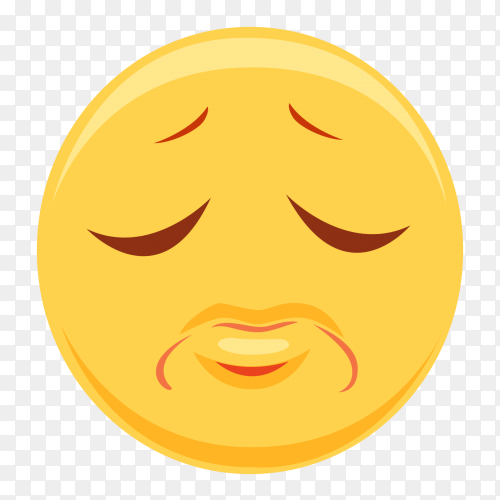 Sad emoji with closed eyes on transparent background PNG