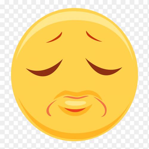 Sad emoji with closed eyes on transparent background PNG