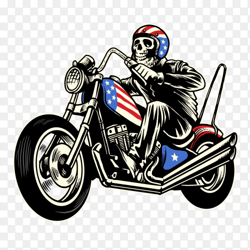 skull ride american flag painted motorcycle on transparent background PNG
