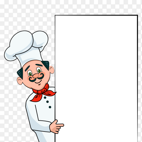 Young chef with white pannier vector PNG