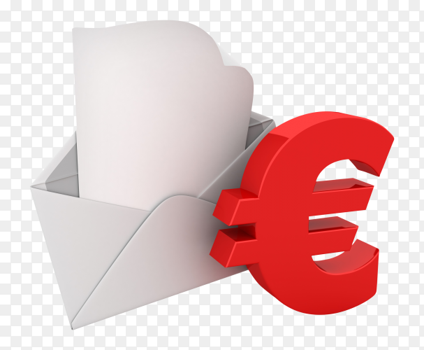 3D envelope with euro sign on transparent background PNG