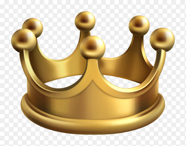 3D gold crown king Clipart PNG