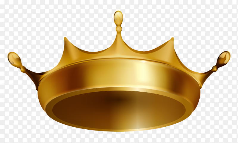 3D gold crown king Premium vector PNG