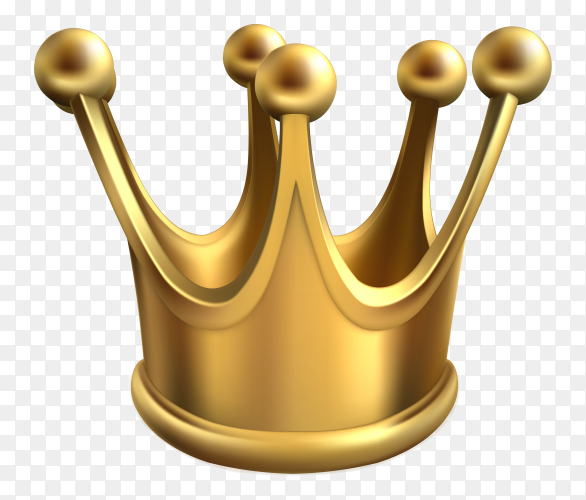 3D gold crown king on transparent background PNG
