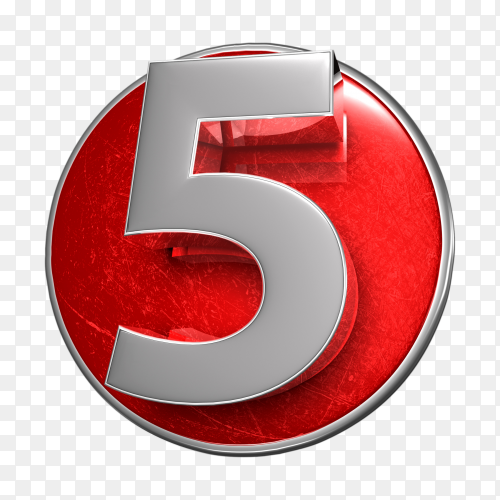 3D illustration numbers five stainless isolated on transparent background PNG
