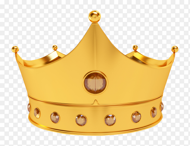 3D royal golden crown on transparent background PNG