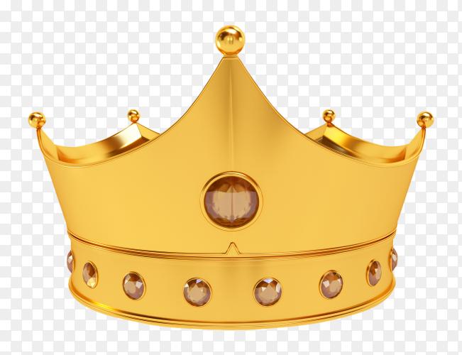 3D royal golden crown on transparent background PNG