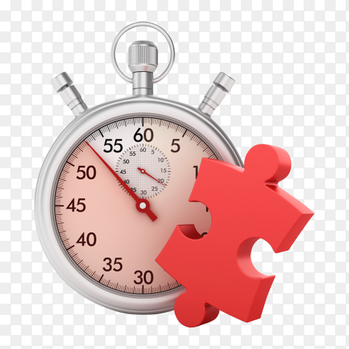 3D stopwatch with jigsaw puzzle piece on transparent background PNG