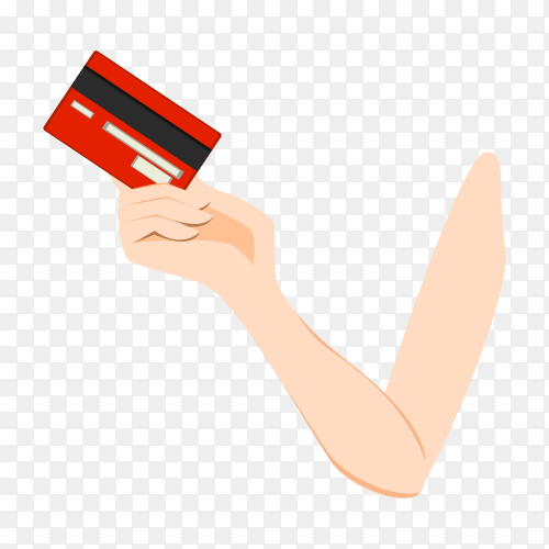 A hand carrying credit card on transparent background PNG