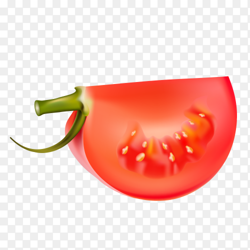 A quarter of a tomato on transparent PNG