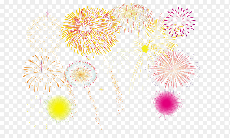 Abstract colored firework on transparent background PNG
