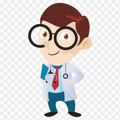 Action character doctor cute  on transparent background PNG
