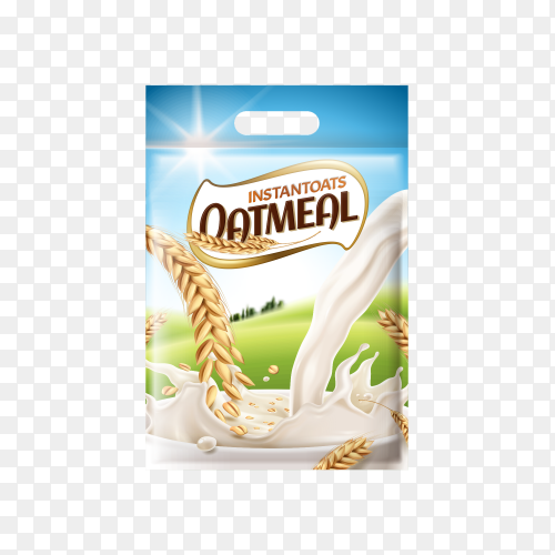 Ad template with milk and wheat healthy organic food on transparent background PNG