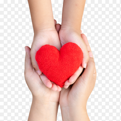 Adult and child hands holding handmade red heart on transparent PNG