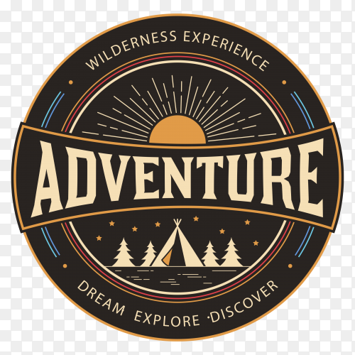 Adventure logo design on transparent background PNG