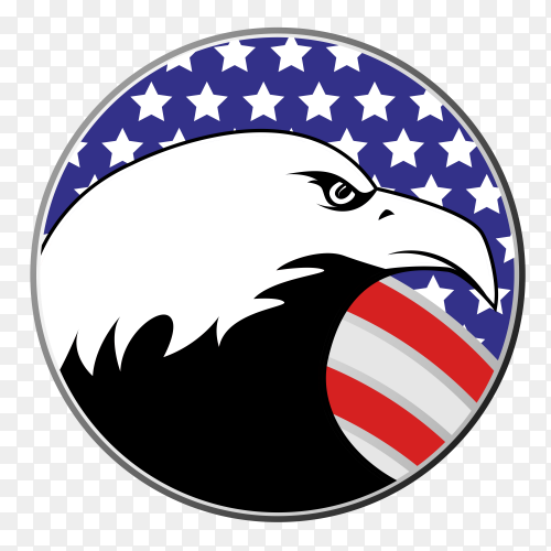 American flag with eagle on transparent backgorund PNG