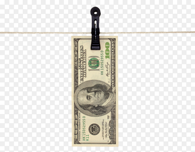 American hundred dollar banknote isolated on transparent PNG