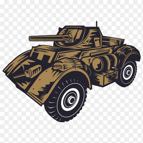 Army tank on transparent background PNG