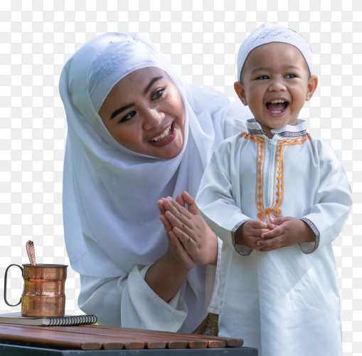 Asian Muslim mother and her son enjoying quality time on transparent PNG
