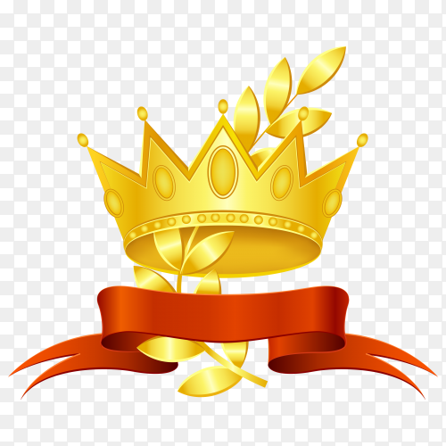 Award gold crown and wreath with red ribbon vector PNG