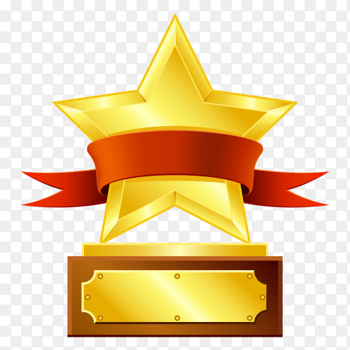 Award gold star with red Ribbon Clipart PNG
