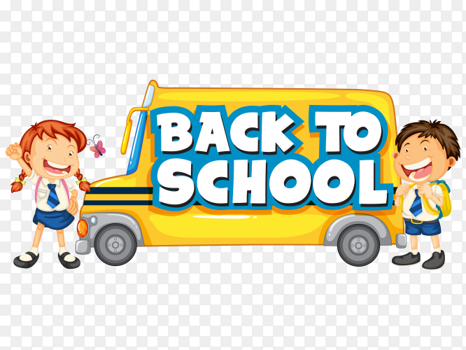 Back school template with school bus vector PNG