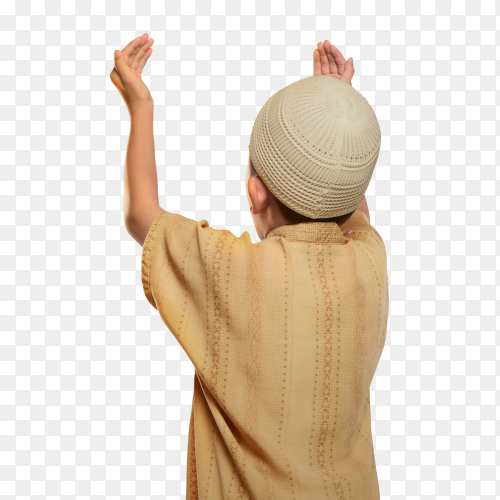 Back view of muslim kid with cap praying to god on transparent background PNG