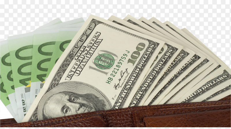 Banknotes dollars in wallet on transparent background PNG