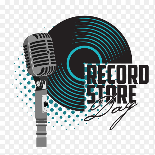 Banner with an acoustic guitar and a microphone for the concert of record store day Clipart PNG