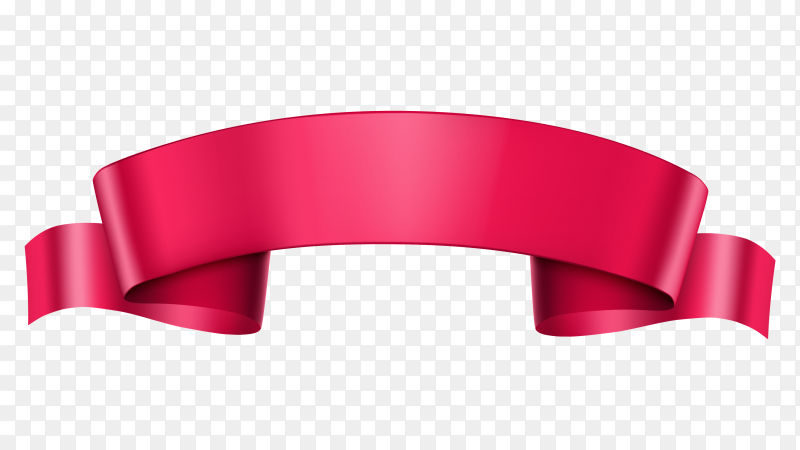 Banner with red Ribbon on transparent background PNG