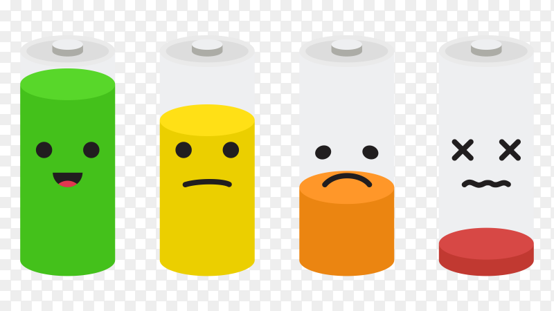 Battery icon set battery charge level with emoji vector PNG
