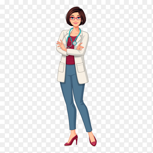 Beautiful young lady doctor  illustration Premium Vector PNG