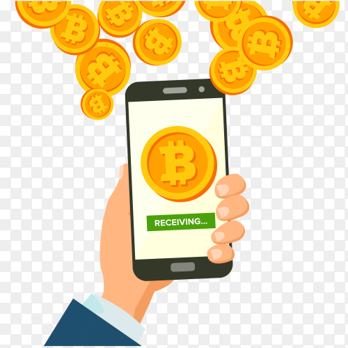 Bitcoin  with hand holding smartphone Clipart PNG