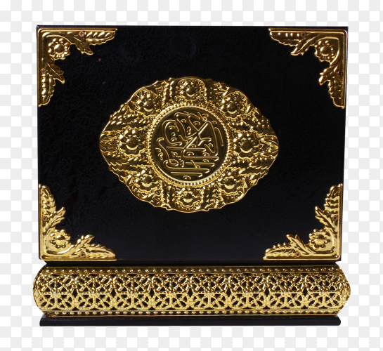 Black and gold quran box on transparent PNG