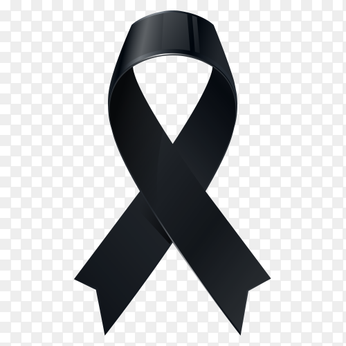 Black awareness ribbon on transparent background PNG