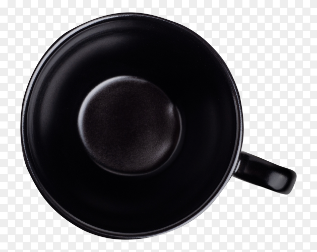 Black ceramic mug on transparent background PNG