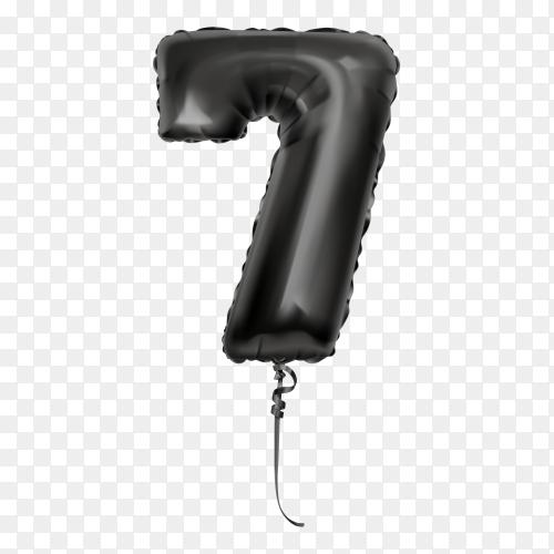 Black foil balloon number Seven on transparent background PNG