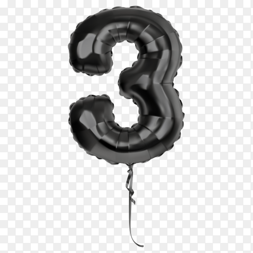 Black foil balloon number Three on transparent background PNG
