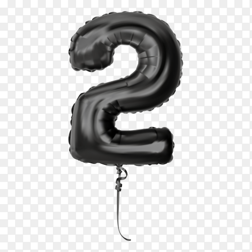 Black foil balloon number two on transparent background PNG