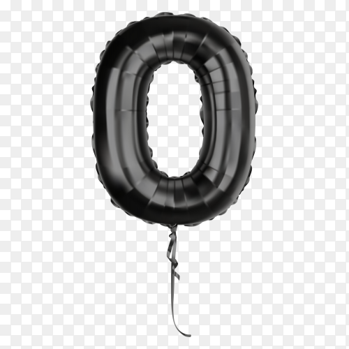 Black foil balloon number zero on transparent background PNG