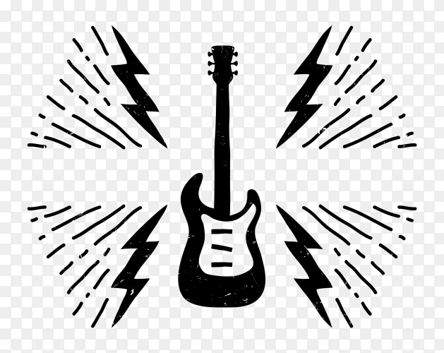 Black guitar on transparent background PNG