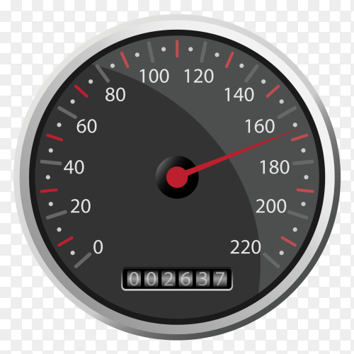 Black speedometer design clipart PNG