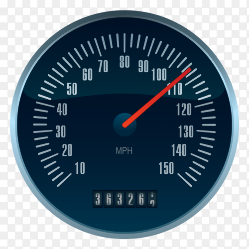 Black speedometer vector PNG