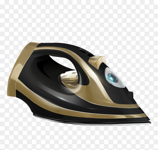 Black steam iron Clipart PNG