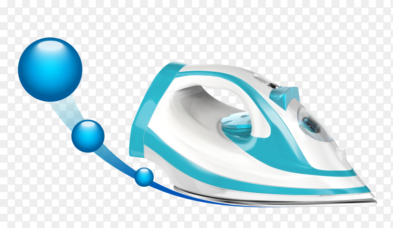 Blue and white steam iron Clipart PNG