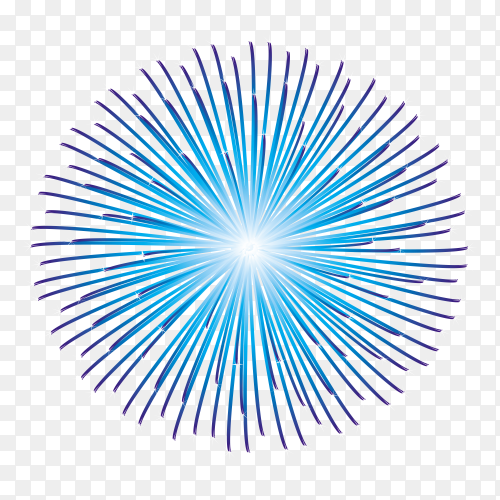 Blue fireworks on transparent background PNG