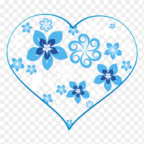 Blue heart full of stars on transparent PNG