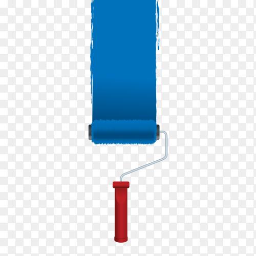 Blue paint bruch on transparent PNG